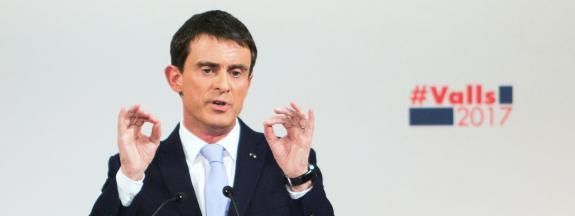 Manuel Valls, en campagne lors de la primaire de la gauche, le 20 janvier 2017.
