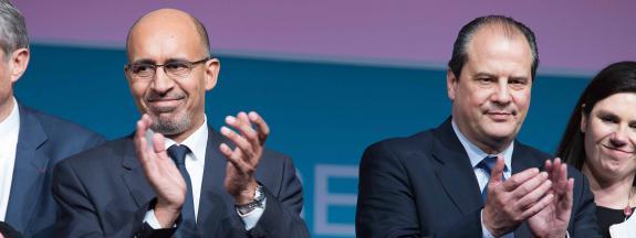 Harlem Désir, alors Premier secrétaire du PS, et Jean-Christophe Cambadélis, le 1er février 2014 à Paris.