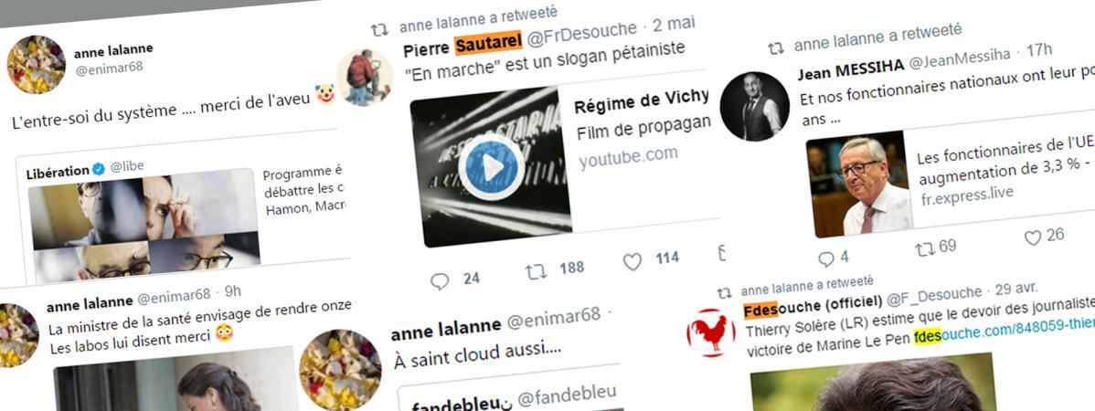 Des twwets et retweets émis depuis le compte Twitter d\'Anne Lalanne.