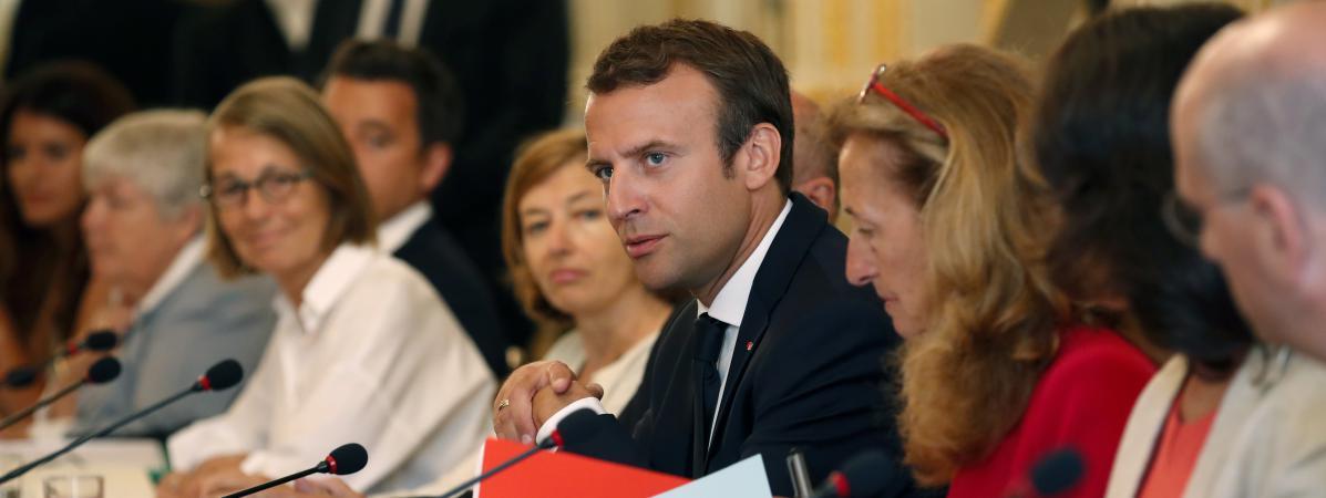 Emmanuel Macron à l\'Elysée, le 28 août 2017.