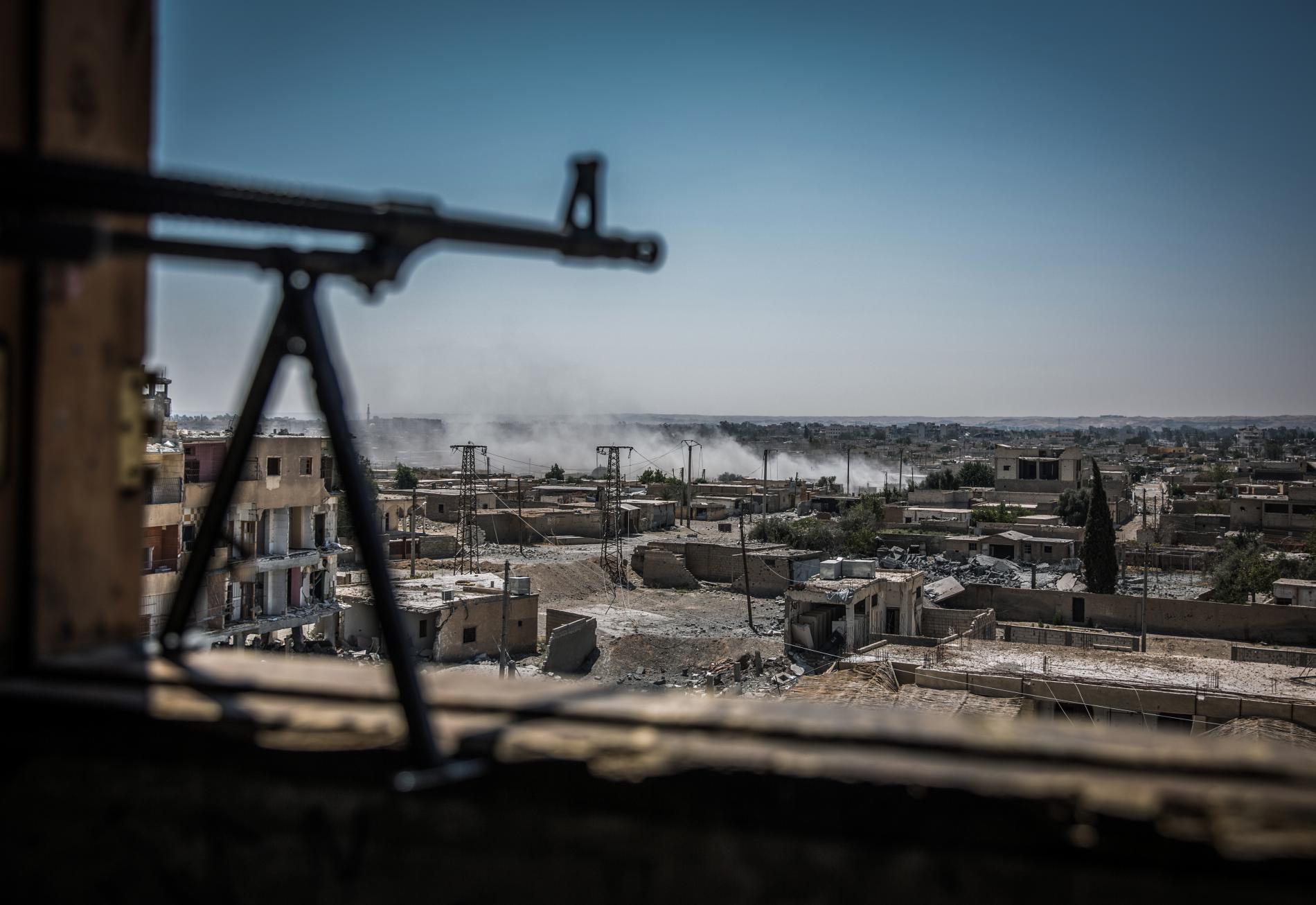 Vue générale du quartier d\'Al-Dariya, à Raqqa (Syrie), le 24 juillet 2017.