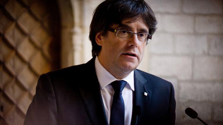 Carles Puigdemont, au palais de la Généralité catalane, à Barcelone (Catalogne, Espagne), le 26 octobre 2017.