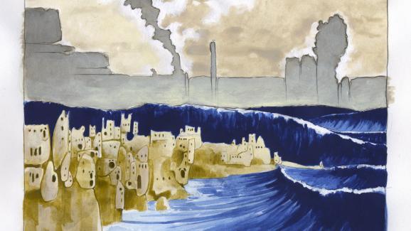 Illustration du mythe de l\'ile disparue sous la mer de l\'Atlantide, à la suite de l\'éruption du volcan submergeant l\'ile legendaire.