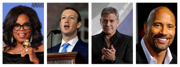 De gauche à droite : Oprah Winfrey, Mark Zuckerberg, George Clooney, Dwayne Johnson