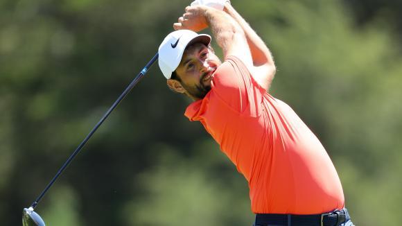 Alexander Levy, lors du premier tour de l\'Open des États-Unis au Shinnecock Hills Golf Club, le 14 juin 2018 à Southampton, New York.
