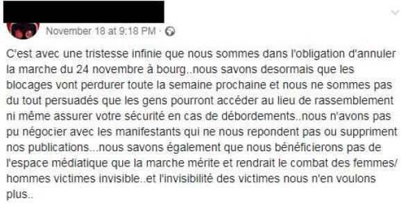 Capture d\'écran du message d\'annulation de la manifestation #NousToutes à Bourg-en-Bresse sur le groupe Facebook de l\'événement.