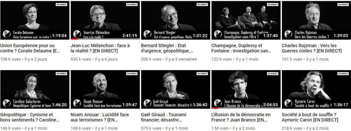 Jean-Luc Mélenchon, Juan Branco ou encore Aymeric Caron font partie des derniers invités de Thinkerview, comme le montre cette capture d\'écran de la page YouTube de Thinkerview, le 13 mai 2019.