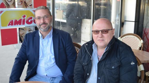 Alain Mondino et Didier Boulain, membres du Rassemblement national, à Tremblay-en-France le 28 mai 2019.
