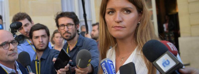 Marlène Schiappa répond aux questions de journalistes, le 3 septembre 2019, àParis.