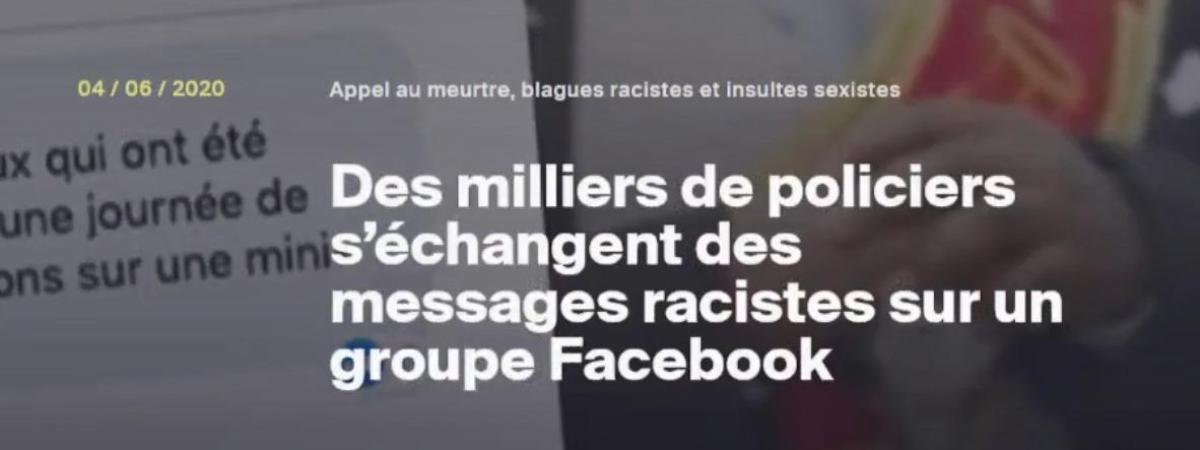 Une capture d\'écran du site Streetpress, qui a révélé l\'existence de messages à caractère haineux sur un groupe Facebook censé être réservé aux forces de l\'ordre.