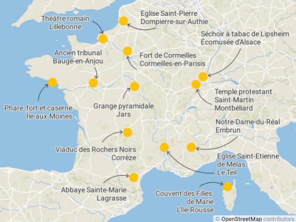 Les sites emblématiques du loto du patrimoine 2020 enmétropole.