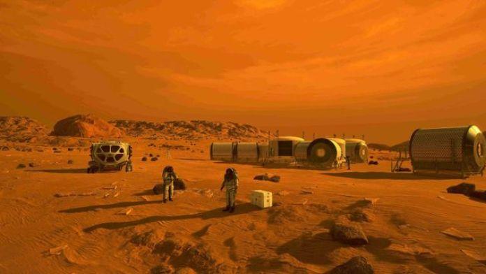 Une illustration de la Nasa montrant ce à quoi pourrait ressembler une première base habitée sur Mars. (NASA)
