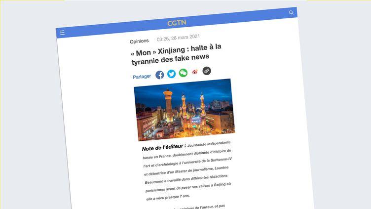 Article signé Laurène Beaumond sur le site en français de la chaîne chinoise CGTN. (CAPTURE D'ECRAN)