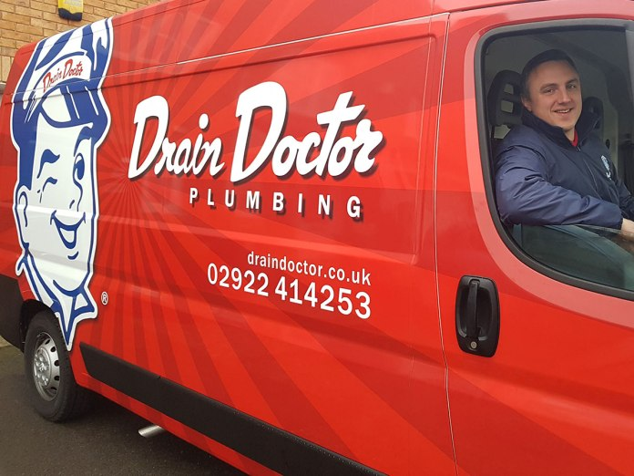 Shaun Bartlett franchise owner for Drain Doctor Cardiff in his new van