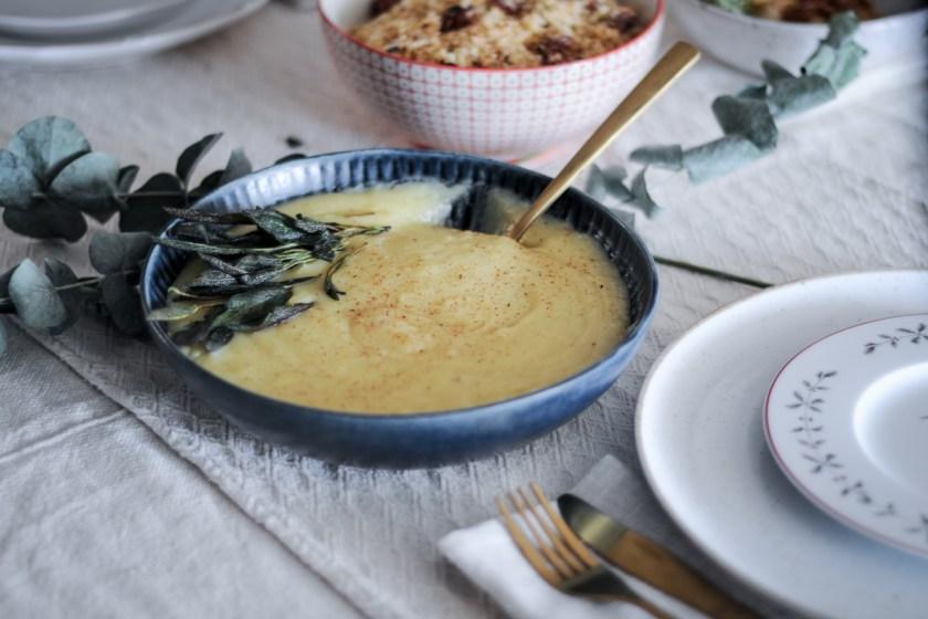 pure de batata com alho confit