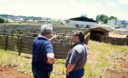Allan Marcos Blanc, da Brasil Currais, e o prefeito em exercício, Eduardo Scirea, observam a área das mangueiras em que ficará o gado bovino