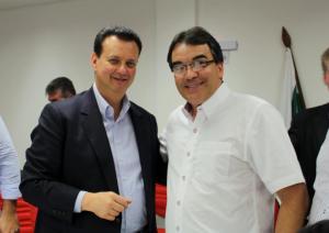 Ministro das Cidades, Gilberto Kassab, e prefeito Cantelmo Neto, durante encontro em Cascavel, nesta sexta-feira