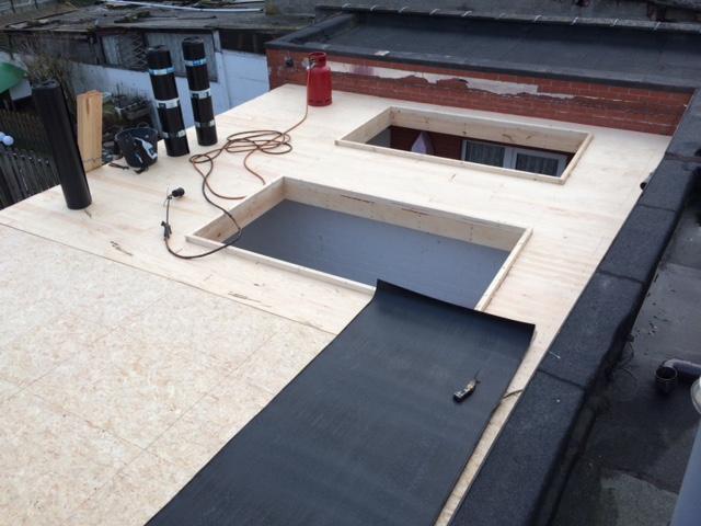 Timmerwerk plat dak + dichting