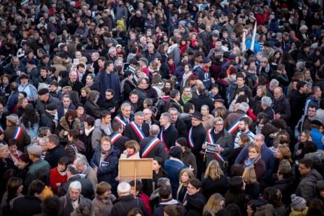 Rassemblement sur la place de la Libération, jeudi 8 janvier, à Auch. ©Franckmontauge.fr