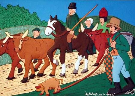 """""""Retour de la Foire"""" - 100 x 65 - Bas-relief - 2002 - Galerie Piltzer Campagne - Barbizon"""