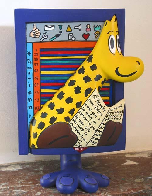 """"""" Datox """" - Sculpture créée pour l'Anniversaire de la société Datox - Tirage résine polyestèr - Numérotée sur 50 - 2001 -"""