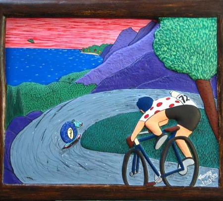 """""""Le Cycliste"""" - 100 x 81 cm - Bas-relief sur toile - 2002"""
