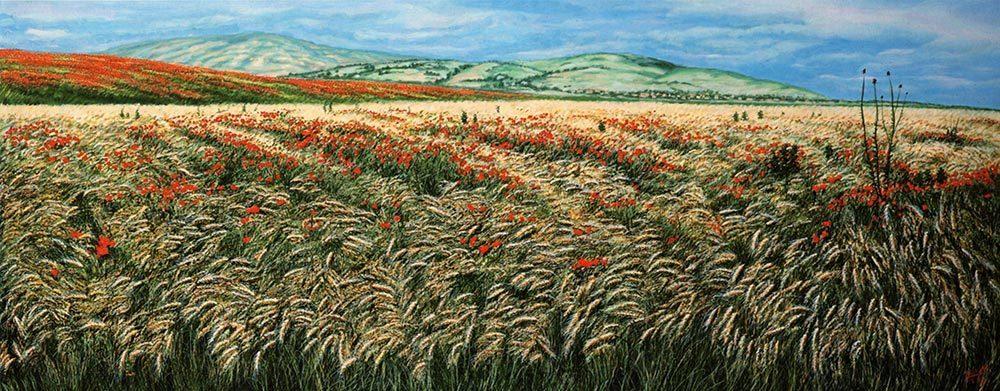 Macedonia. Il deserto fiorito - olio su tela cm 140x60 anno 2002. Luogo dove è nato Alessandro il grande