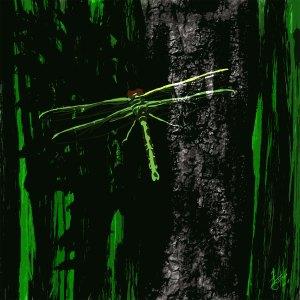 Artwork: Dragonfly on a tree by Franco Esteve