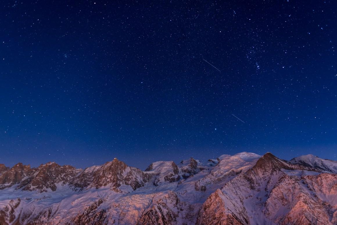Nuit étoilée sur le Mont-Blanc