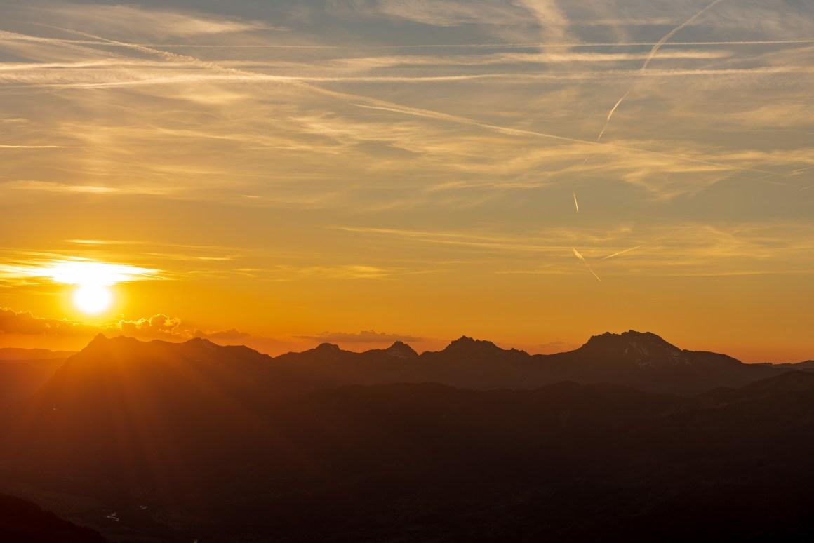 Coucher de soleil depuis le refuge de Grenairon