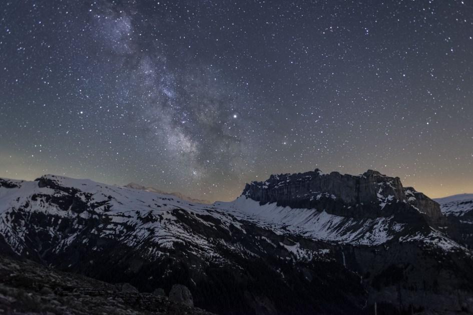 Voie lactée entre Fiz et Mont-Blanc
