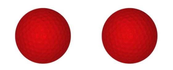 2 balles de golf rouge