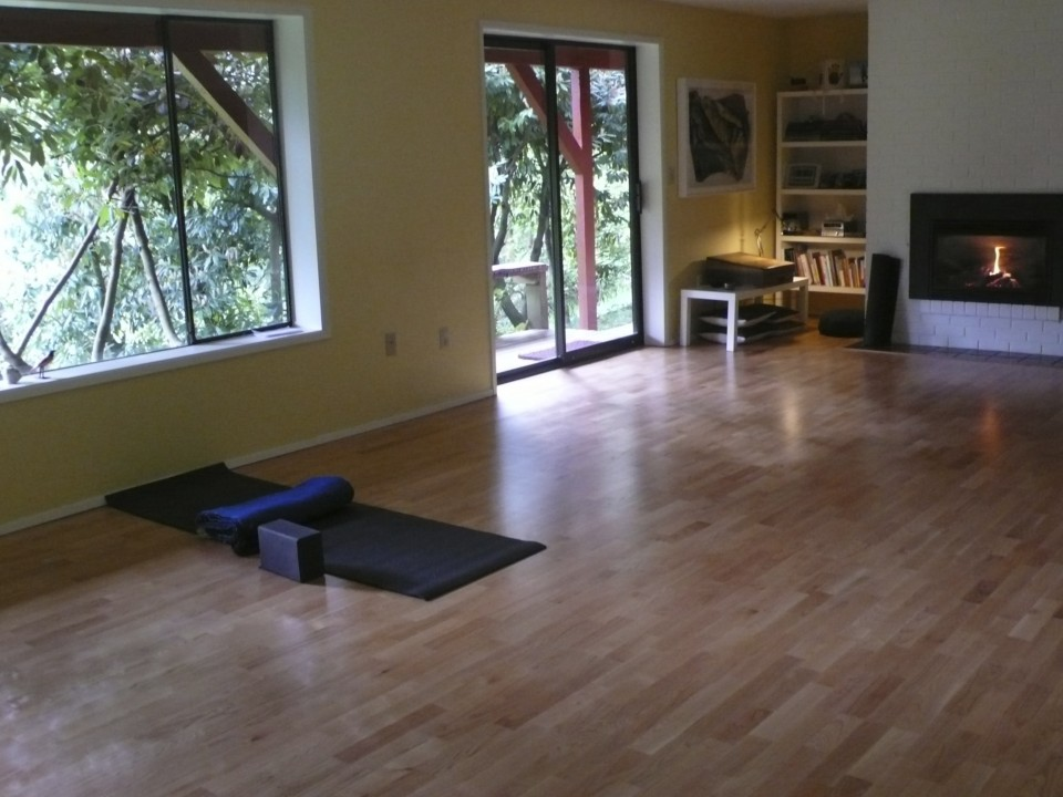 The studio at Crystal Creek in the morning light before the Saturday group arrival.