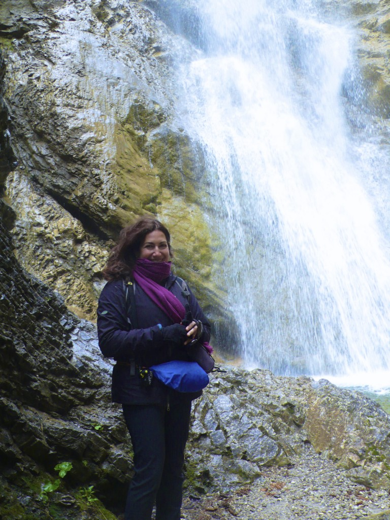 All bundled up at the Veils Waterfall