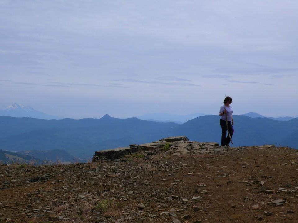 Barbara walking at the peak.