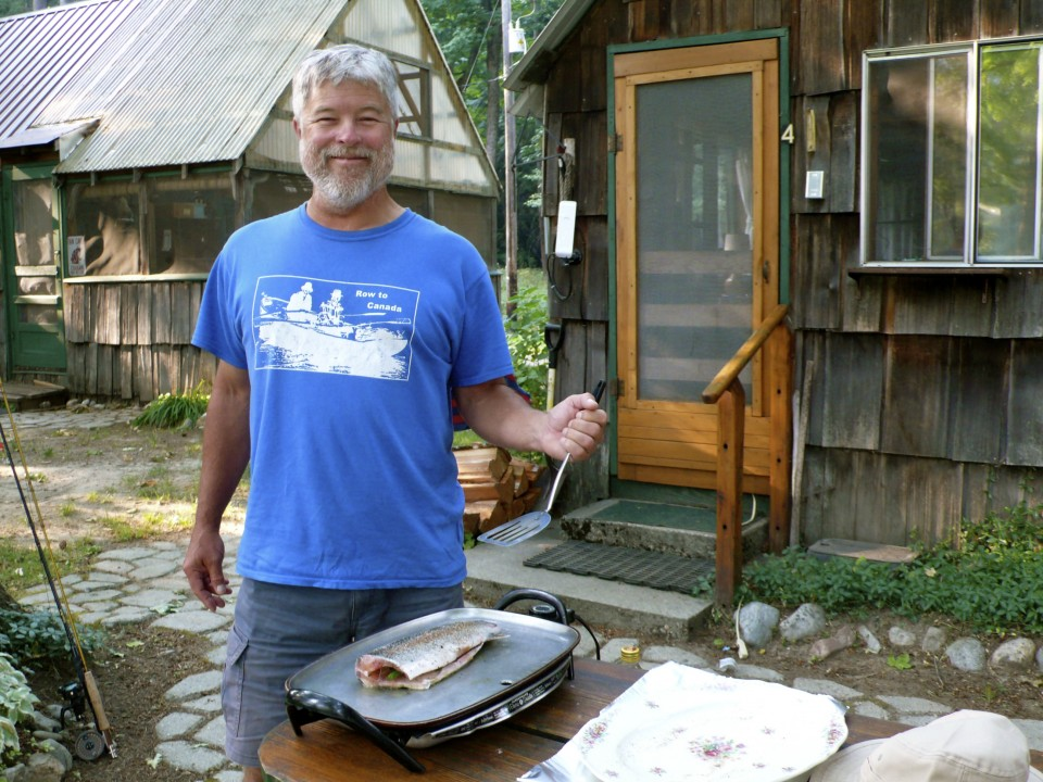 Back at the cabin, our Haiku-Fisherman Rick has caught us a dinner sized trout!
