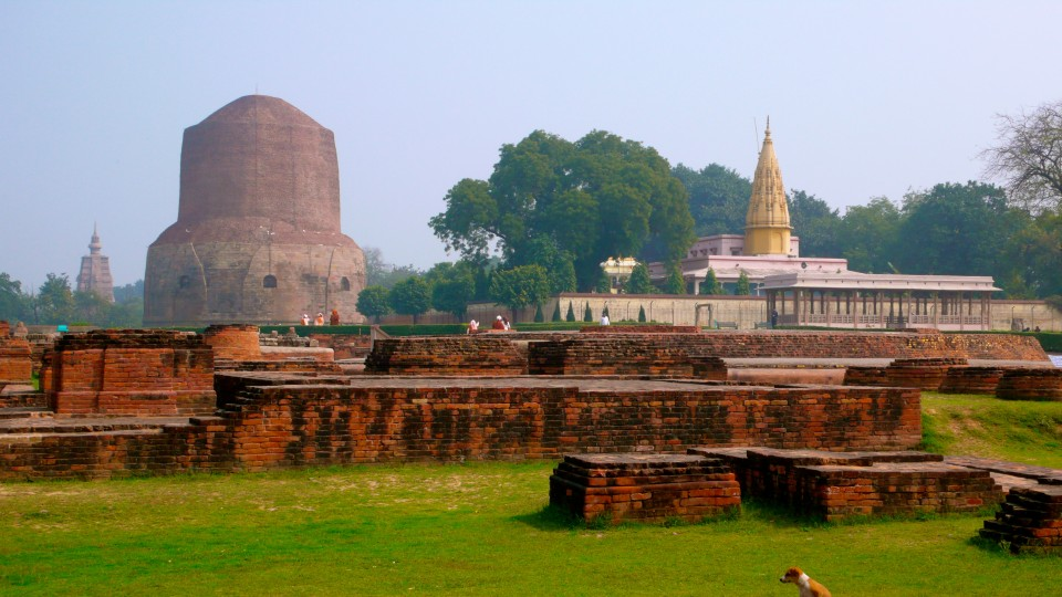 Sacred ancient grounds of Sarnath, where Buddha gave his first sermon.