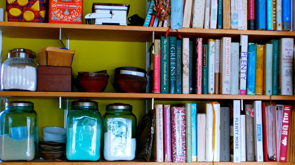 Houseboat shelving laden with the best cookbooks ever!