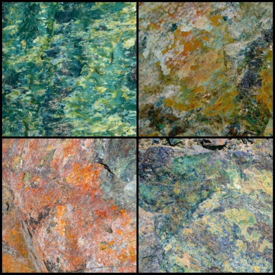 Rock faces, put together in a collage