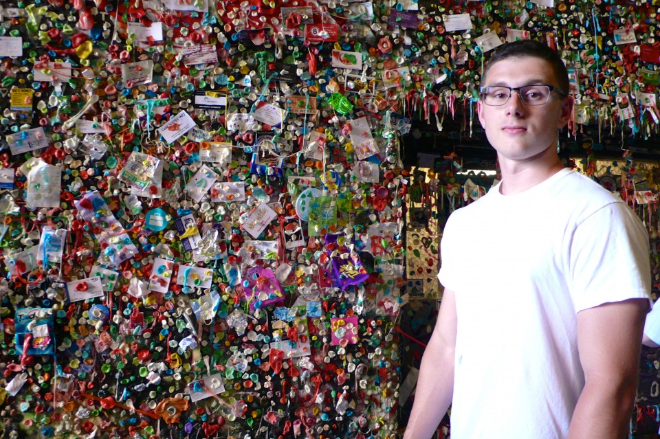 Just had to include this photo!  Jesse's dad has a horror of chewing gum!  He finds it disgusting, so Jesse had to find the Gum Wall and get this photo.  I think Jesse now shares his father's disgust of gum!  The look on his face is priceless.  I had to urge and coax him closer to the wall, against his will, to get this shot!  While getting closer to the wall, he stepped on some gooey gum.  The wall was literally melting because of Seattle's heat wave.  I never knew that gum melts at 96 degrees F.
