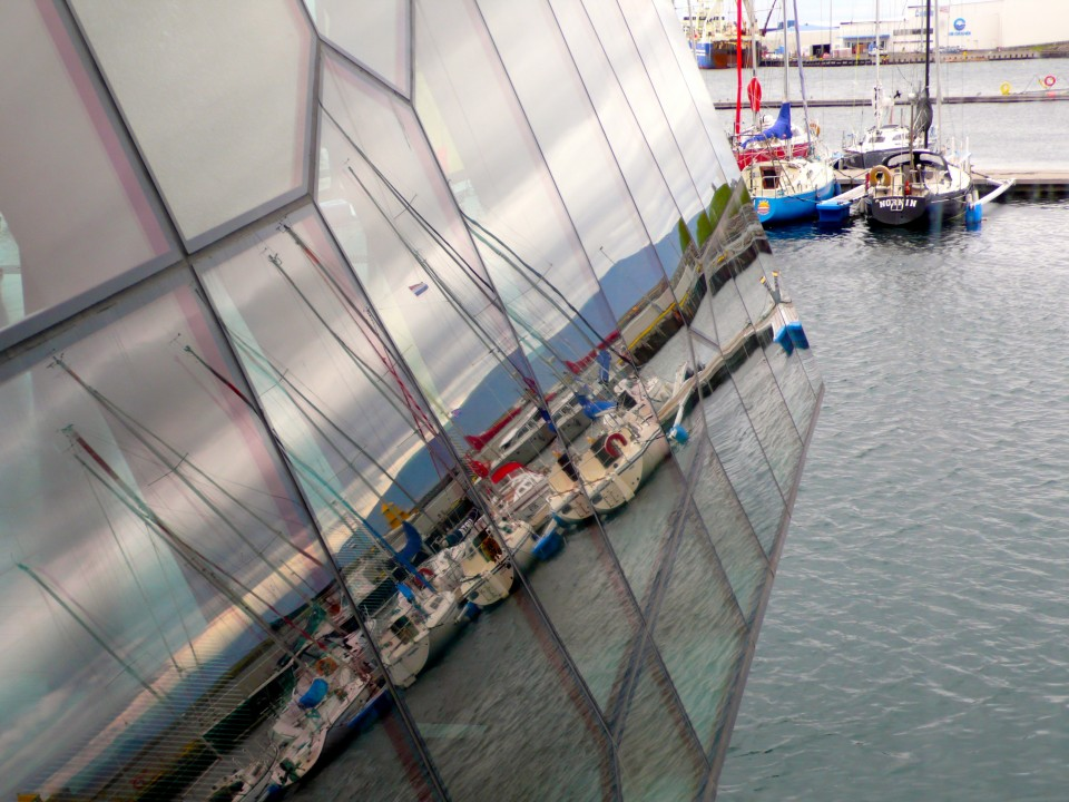 Reflections of Harpa on the harbor (taken from the interior)