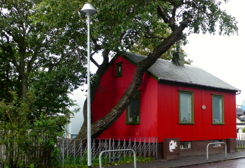 Cute red house in Reykjavik.