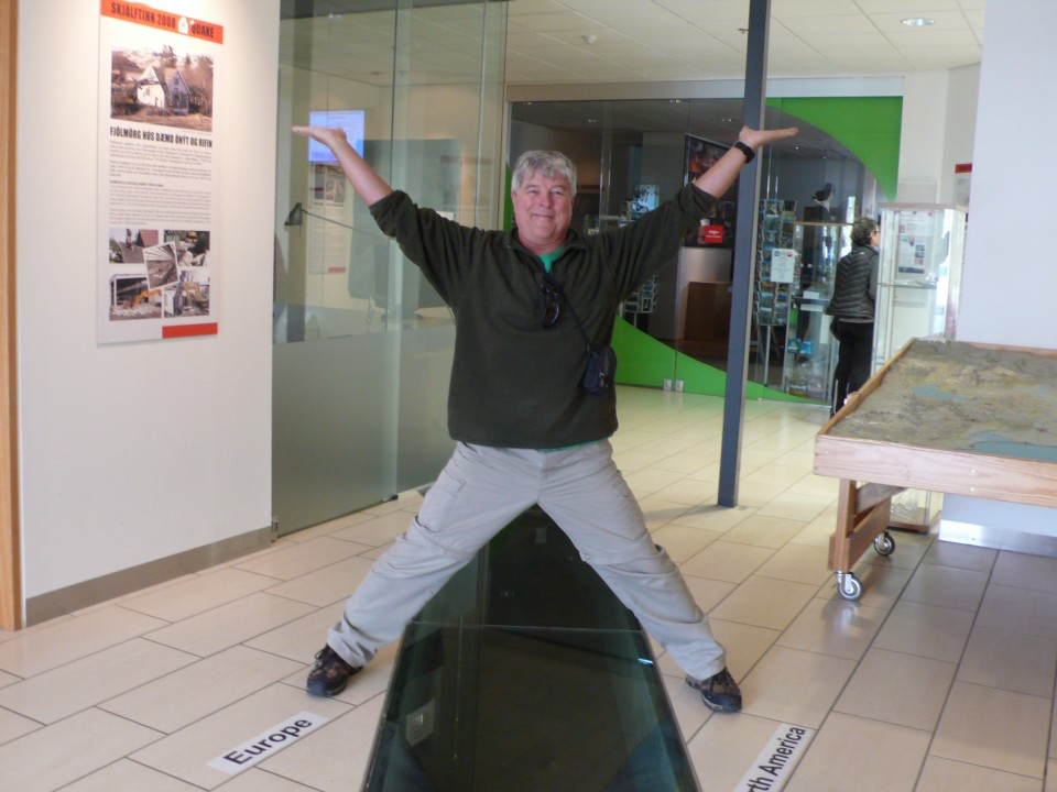 Rick spans two continents: Eurasia and North America as he stands over the rift at the Earthquake Museum