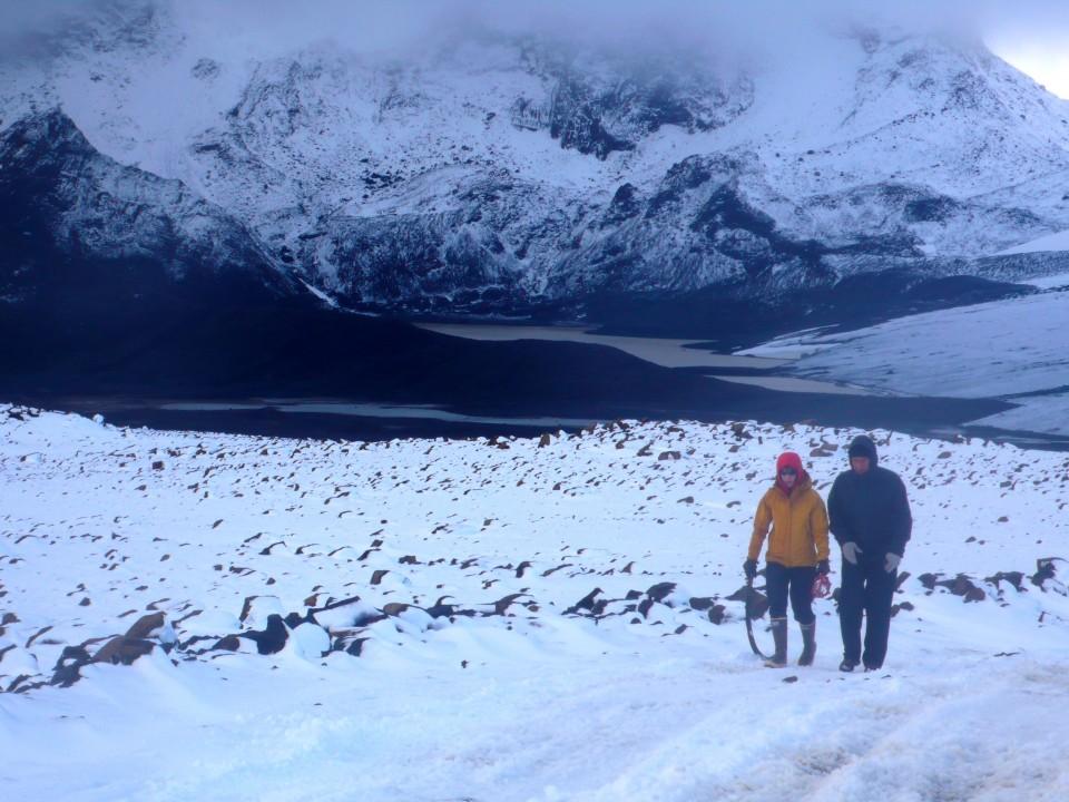 Walking off the glacier