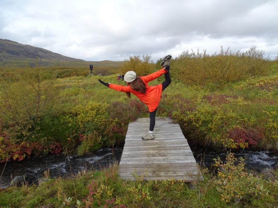 Dancer on Wooden Bridge