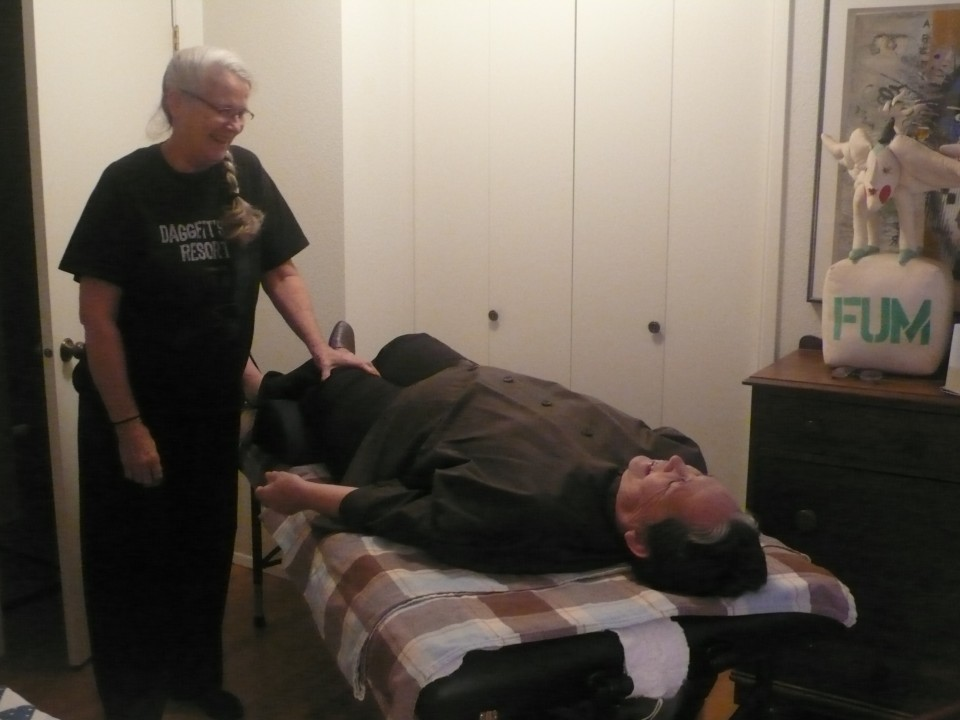 Julie Bacon gives half hour massages at the day retreat