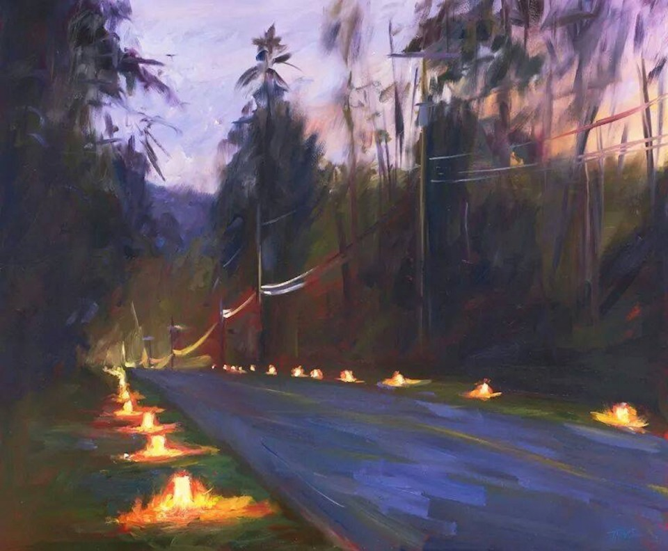 Luminaria: Beautiful painting by Pam Ingalls of the Winter Solstice Magical Candle Lighting, organized annually by Karen Biondo, on the very day of the Winter Solstice on Vashon Island!!