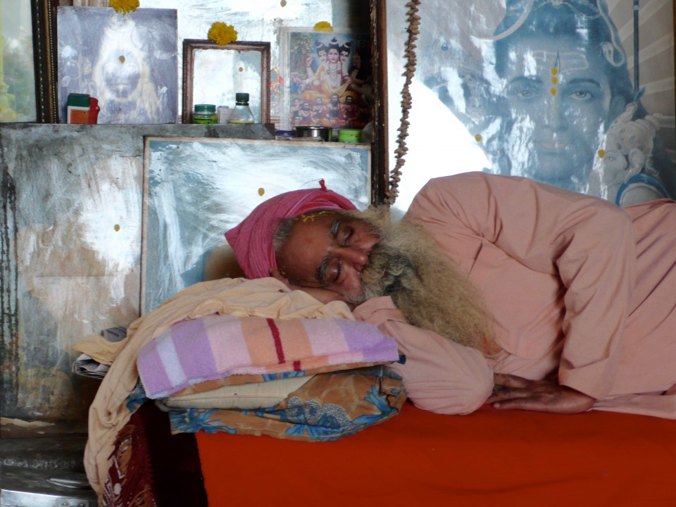Can't believe I caught this photo of Sleeping Man near the temple