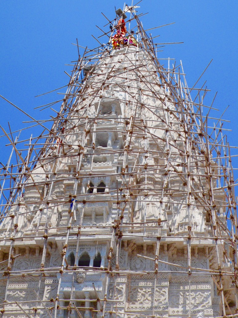 The Shiva Temple is one of the oldest temples in Mumbai.  The scaffolding made me kind of nervous.  Yes, workers climb up on this bamboo scaffolding for renovations!