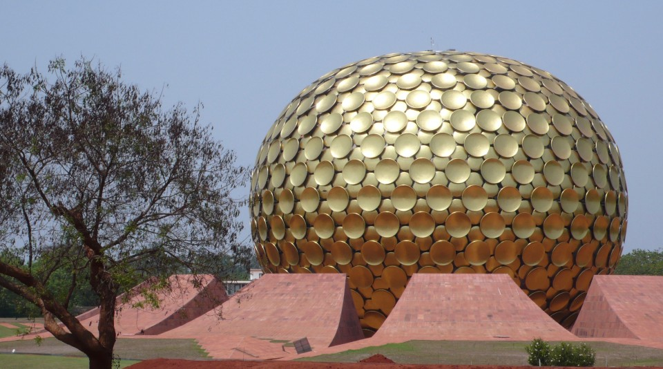 The giant domes structure we could not enter, the MatriMandir at Auroville